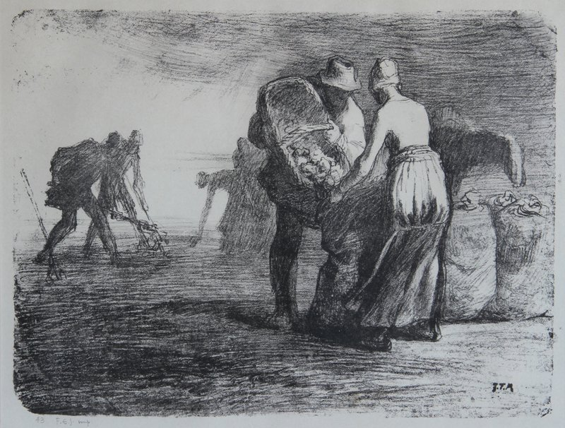 Jean Francois Millet, Potato Gatherers, Lithograph