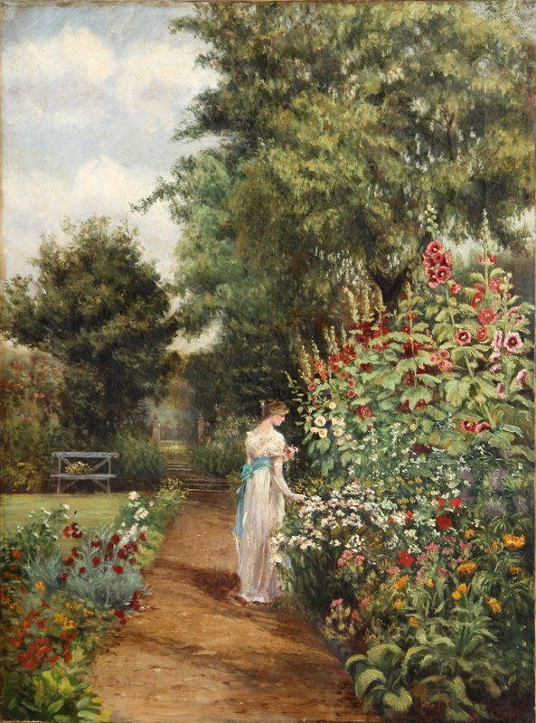Woman Strolling Through Garden, Oil Painting