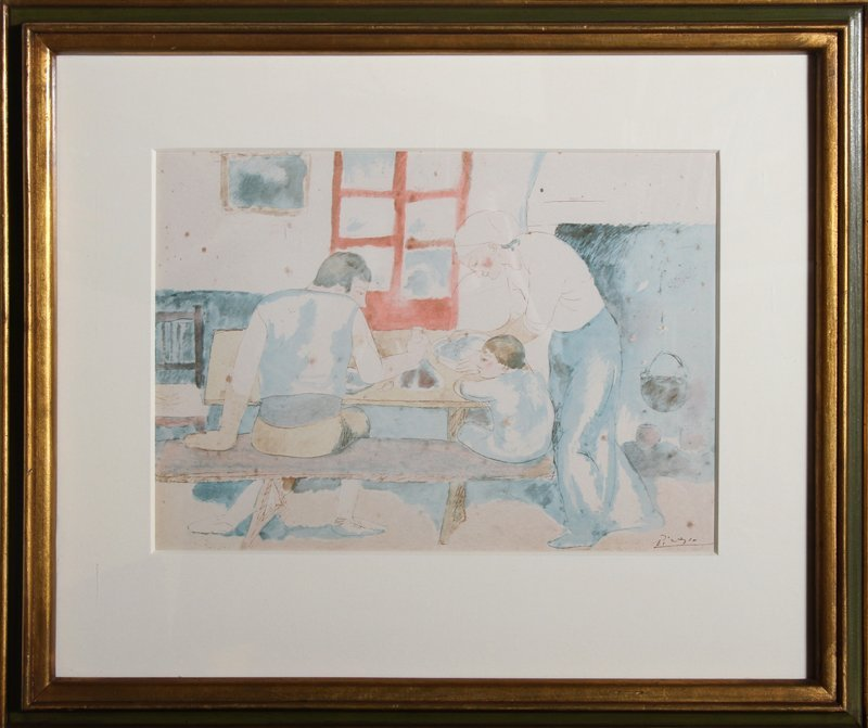 Pablo Picasso, Family at Supper (trans.), Lithograph