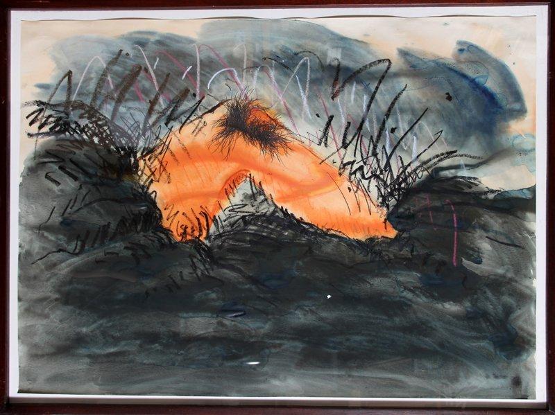 Jody Pinto, Orange Leg Landscape, Watercolor Drawing
