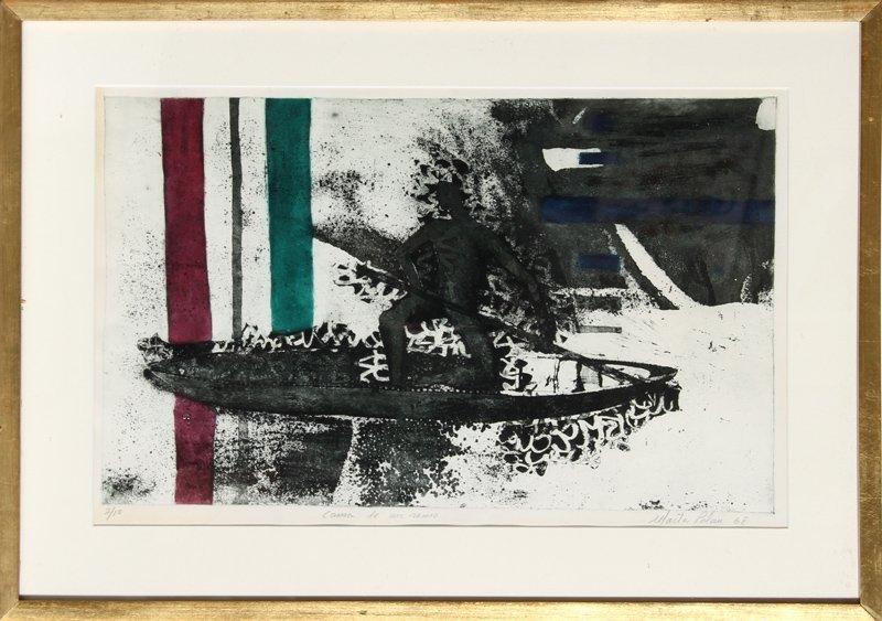 Marta Palau, Canoa en un remo, Aquatint Etching
