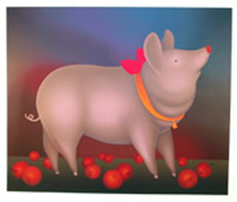 Igor Galanin, Pig with Bow, Serigraph