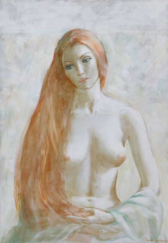 Nathan Wasserberger, Red Haired Nude, Oil Painting