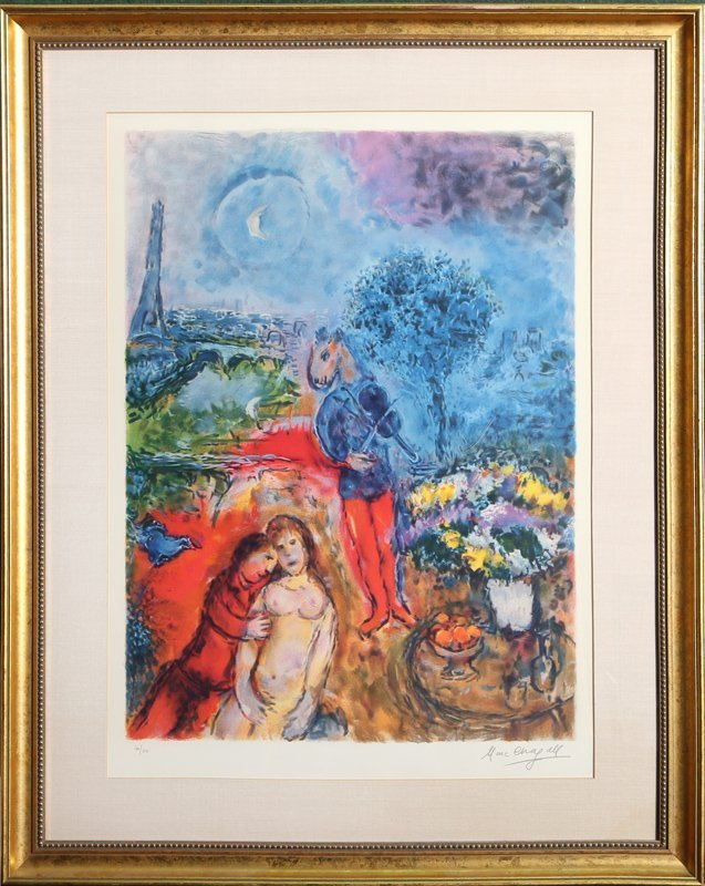 Marc Chagall, Eiffel Tower Serenade, Offset Lithograph