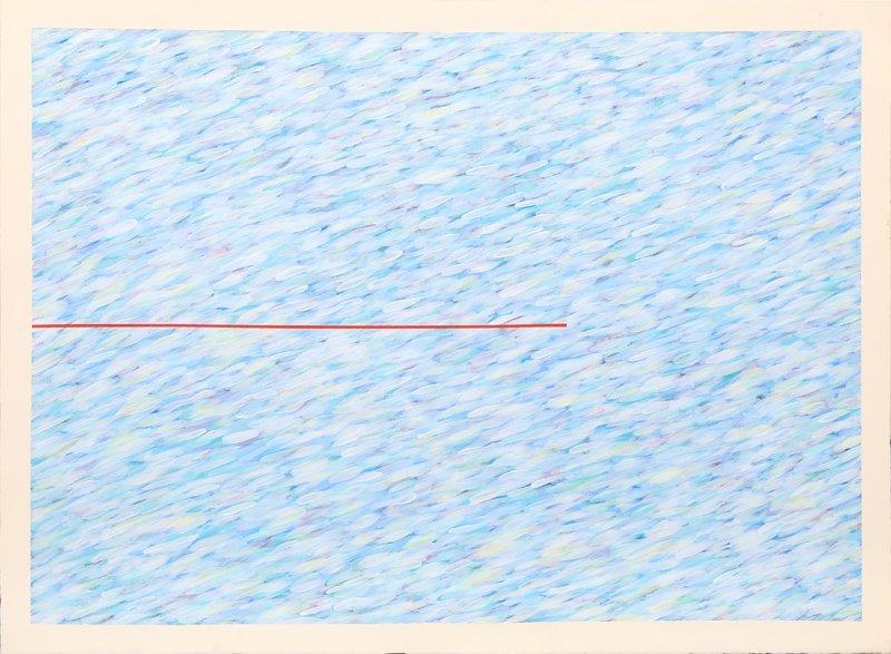 Farid Haddad, Variation On a Red Line I, Gouache