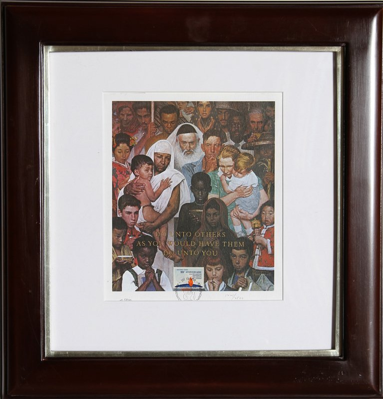 Norman Rockwell, Golden Rule, United Nations Lithograph