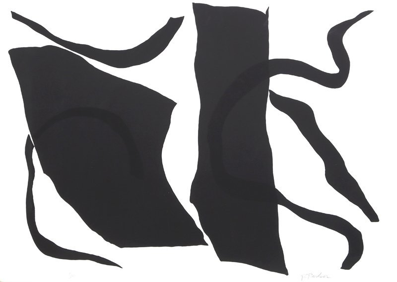 Raymond Parker, Black and White Abstract I, Silkscreen