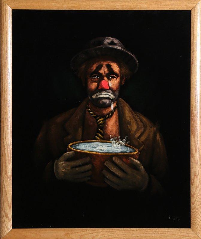Carlos, Sad Clown, Acrylic on Velvet