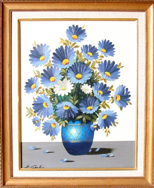 E. Carlos, Blue Spring Flowers, Oil Painting