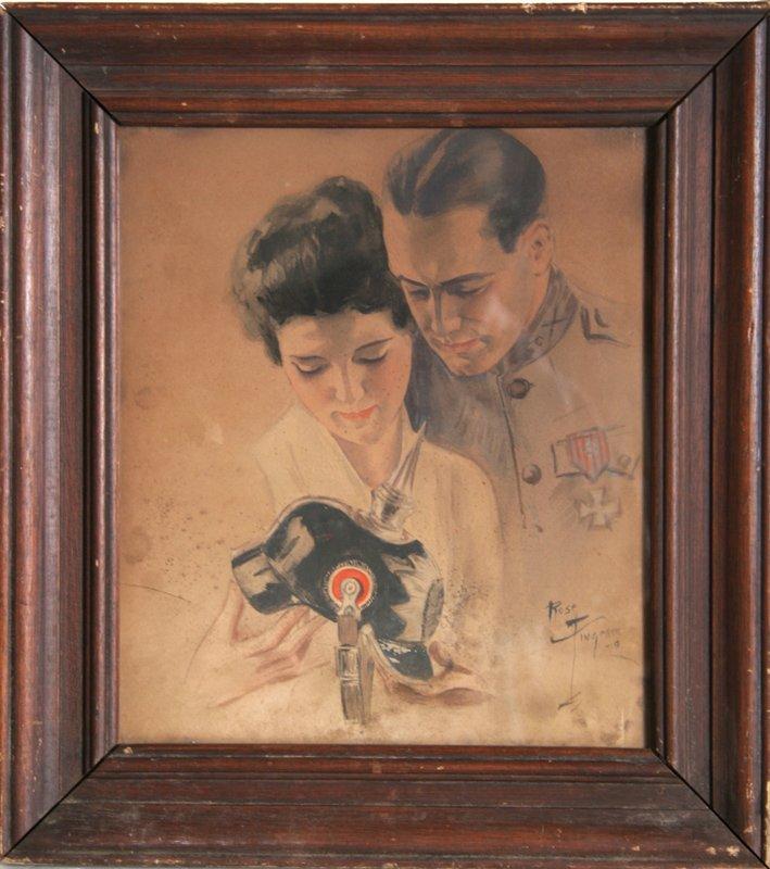 Rose Fingerer, World War I Couple, Watercolor Painting