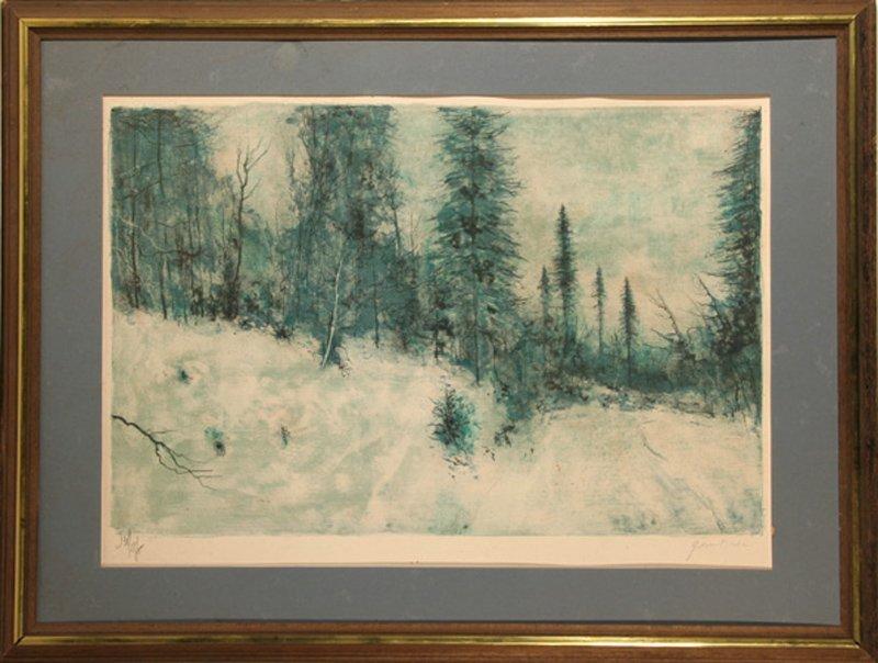 Bernard Gantner, Winter Landscape, Lithograph