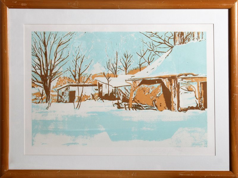 John Healy, Winter Shacks, Lithograph