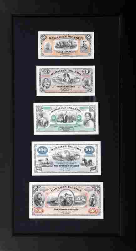 Five Hawaii Bank Notes, American Bank Note