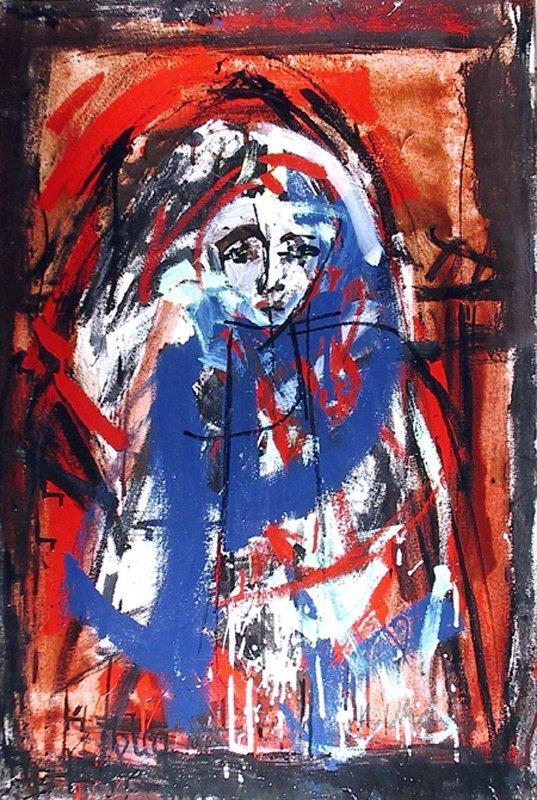 Jimmy Locca, Femme a la Cape, Oil Painting