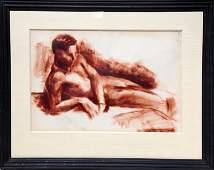 Otto Bielefeld, Lying Male Nude, Charcoal Drawing