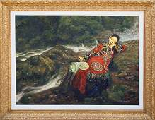 Di Li Feng, Girl With Fan, Oil Painting