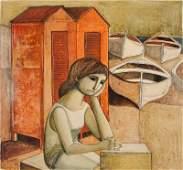 Lucio Ranucci, Girl Waiting at Boat Docks, Oil Painting