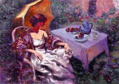 Vilany, Woman in Garden, Oil Painting