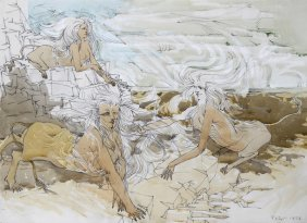 Dimitri Petrov, Three Sphinxes, Pencil And Watercolor