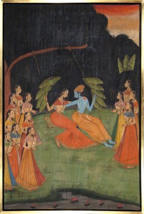 Indian, Swing Set, Gouache Painting On Linen