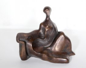 In The Style Of Henry Moore, Two Sitting Figures,