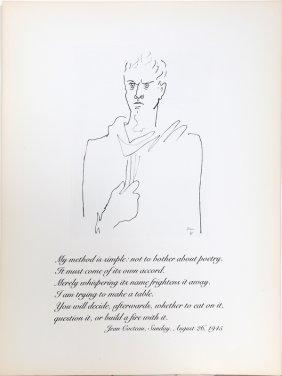 Jean Cocteau, Self Portrait, Etching
