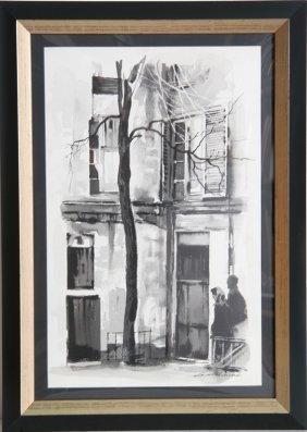 Sandu Liberman, Street Scene With Tree, Watercolor