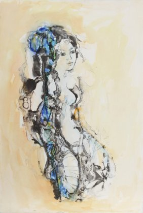 Madeleine Scellier, Nude Portrait 3, Watercolor