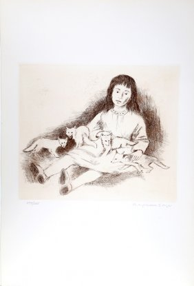 Raphael Soyer, Girl With Wolves, Etching