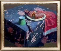 John Bazadona, Still Life with Bread, Oil Painting