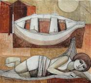 Lucio Ranucci, Reclining Woman with Boat, Oil Painting