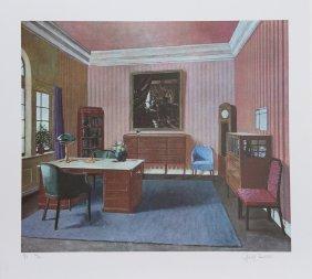 George Deem, Pinkroom With Vermeer Painting, Lithograph
