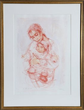 Edna Hibel, Mother And Child, Lithograph