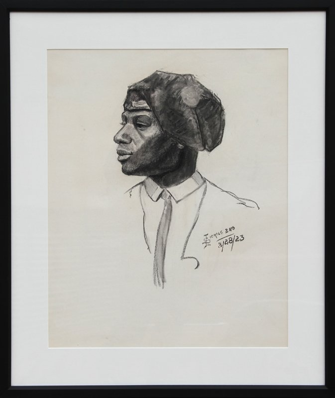 I. Sickels, 2nd, Portrait of a Soldier, Charcoal