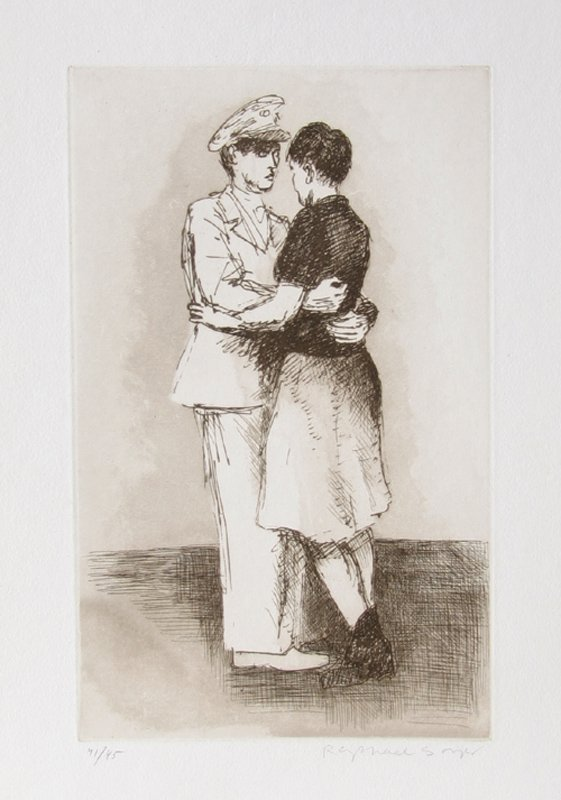 Raphael Soyer, Soldier and Girl I, Etching