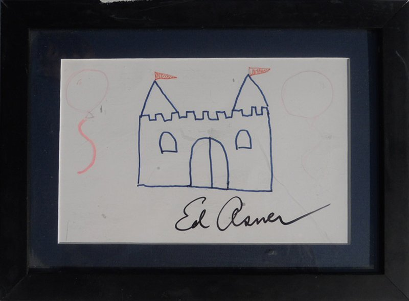 Ed Asner, Castle with Balloons Doodle, Marker and Color