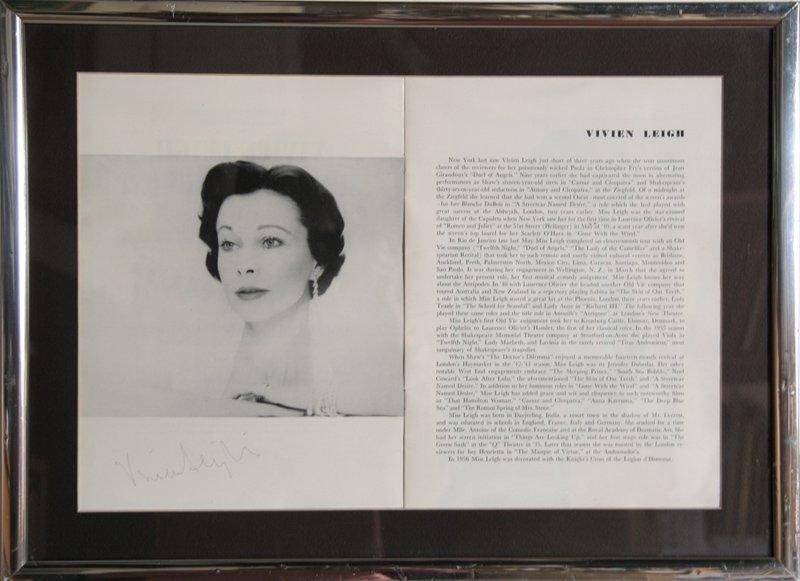 Vivien Leigh Autographed Article #