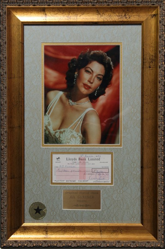 Ava Gardner, Autographed Personal Check with Photograph