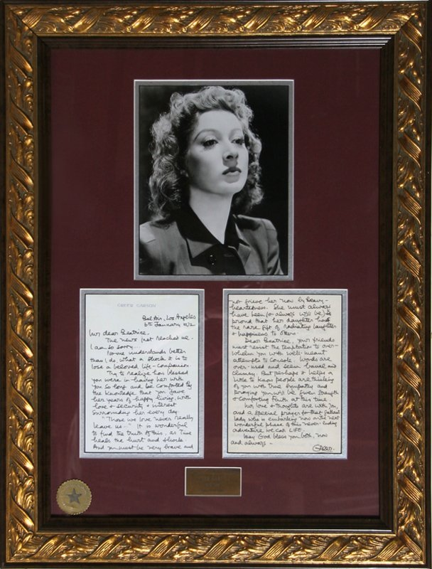 Greer Garson, Photograph with Personal Letter #