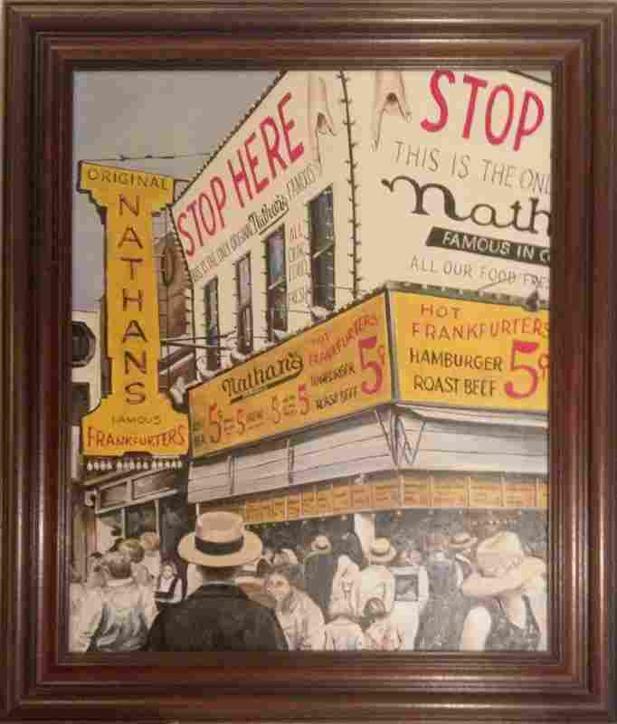 M. Herbert, Nathan's Famous Coney Island, Oil Painting