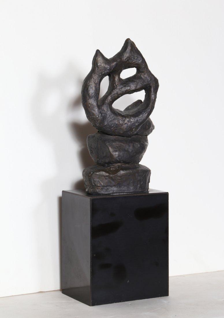 Ruth Gutman, Abstract Cat, Cast Plaster Sculpture - 2