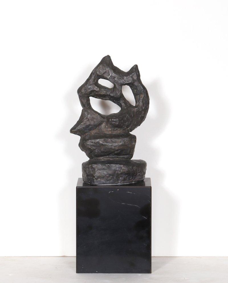 Ruth Gutman, Abstract Cat, Cast Plaster Sculpture - 5