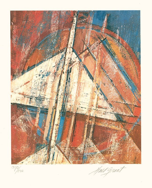 Hall Groat, Untitled - Pyramids and Sun, Lithograph