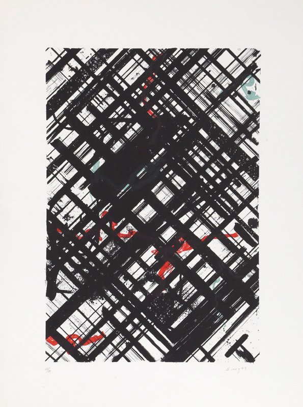 Ed Moses, Untitled - Black Crosshatch with Red II,