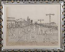 Vestie Davis, Coney Island, Pencil and Ink Drawing