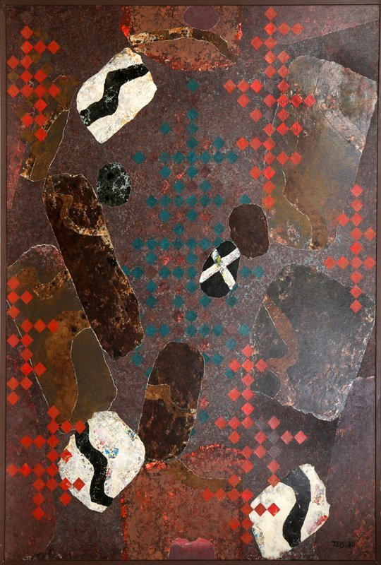 Dan Teis, Floating Abstract Shapes on Brown, Oil