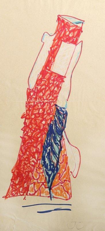 John Chamberlain, Red Coconut, Marker Drawing  on