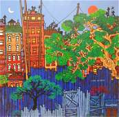 Edward Sokol, Brooklyn Backyards, Oil Painting