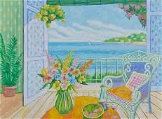 Lloyd van Pitterson, Balcony View, Oil Painting