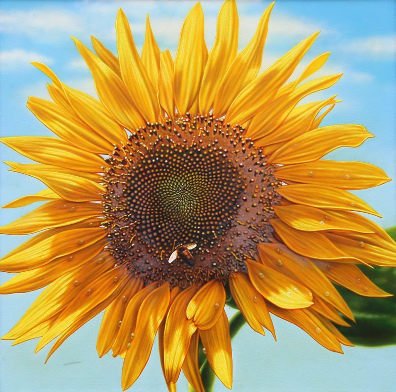 Hilo Chen, Blossom 11 (Sunflower and Bee), Oil Painting